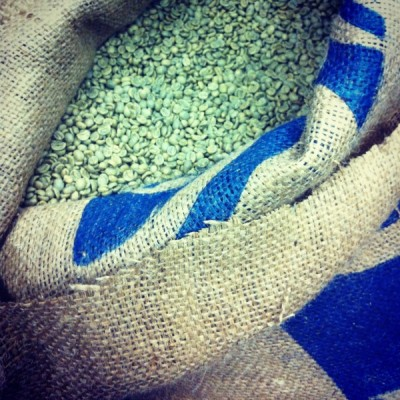 green, unroasted coffee beans